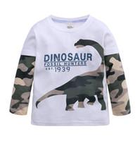 طفل الفتيان تي شيرت أطفال سترة الصبي طويلة الأكمام القميص بلايز الملابس القطنية السترة ديناصور التمويه الخريف ملابس الأطفال