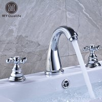 Bright Chrome Dual Handle Bathroom Mixer Faucet Deck Mounted...