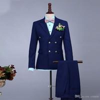 Mens Wedding Suits Double Breasted Navy Blue Groom Tuxedos Peaked Lapel Groomsmen Wear Prom Wear 2 Pieces Best Man Blazers Bridegroom Dress
