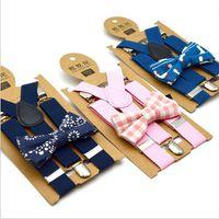 Niños Tirantes pajarita a cuadros impresos Set apoyos para niños planilla elástica Y-tirantes con la pajarita Moda de la correa de la correa del bebé retro clip de Y-back A6149
