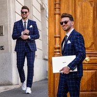 Navy Mens Suits For Groom Tuxedos 2020 Notched Lapel Slim Fi...