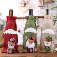 홈 삼베 자수 천사 노인 와인 병 커버 세트 크리스마스 선물 가방 산타 자루 3 색에 대한 창조적 인 만화 크리스마스 장식