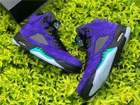 Newest Air Authentic 5 Alternate Grape Men Basketball Shoes 5S Grape Ice Black Athletic Shoes Clear New Emerald Suede Man Sports Sneakers