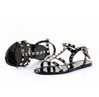 Neue 2018 Frau Sommer Sandalen Nieten große Bowknot Flip Flops Strand Alias Femininas Flat Jelly Designers Sandalen