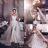 2019 Luxo Mermaid Lace Vestido de Noiva Elegante Appliqued Strapless Vintage Anexo Treine Frisado Sash Vestido Bridal Feito Personalizado