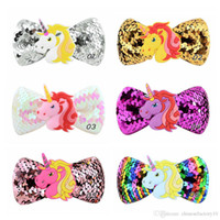 Kids Unicorn Sequins Hair Clips Hairpins Pinwheel Хэллоуин Аксессуары для волос Бантика с зажимами 6 Цветов Партия Косплей Барьерки
