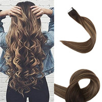 Ombre Tape in Hair Extensions Seamless Remy Hair Weft Color 2 Brown Fading to #3 and #27 Honey Blonde Dip Dyed Human Hair 20 Pcs 50gram