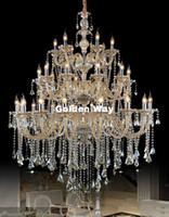 Lujo claro magnífico araña de cristal de lujo de la vendimia del hotel de la lámpara LED de CA Lamparas retro coñac Cristal Ático Lustre de la lámpara