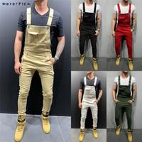 2019 Fashion Retro Design Slim Noir Bleu Denim Jumpsuit Shredded coton Denim Jeans Romper Jeans Homme Bib Salopette Jean Pantalons