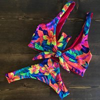 In- X Weave bandage bikini 2019 Sexy swimsuit with flowers Tr...