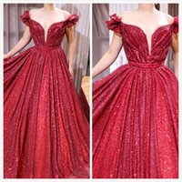 Red Sparkly Sequined Arabic Evening Dresses Sweetheart A- lin...