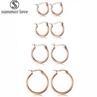 Classique Multi Size Boucles d'oreilles en or Boucles d'oreilles en acier inoxydable or rose élégant Bijoux simple pour femmes filles cadeau en gros-Z