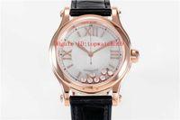 Новый HAPPY DIAMONDS Bucherer Синий Editions леди часы Swiss Automatic сапфировое стекло розового золота 18К корпус из нержавеющей стали ремешок из кожи аллигатора