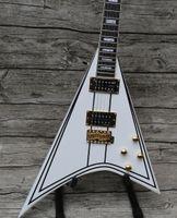 Rara hijo Jack exclusivo Randy Rhoads RR 1 Negro a rayas blancas del vuelo V de la guitarra eléctrica de oro de hardware, Bloque MOP embutido, trémolo Colilla