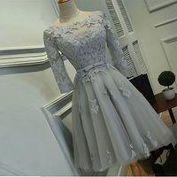 Elegante una línea de Fiesta Vestidos cortos de tul con hasta Volver vestidos de graduación mangas de encaje apliques Sash blusa de encaje de plata vestidos de baile