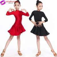 Latin Dance Skirt for Children's Sexy Ladies Long Sleeve Latin Ballroom Tango Latin Dresses Fashion 3 Color Dress 2019