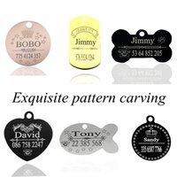 Exquisite Pattern Stainless Steel Dog ID Tag Engraving Name ...