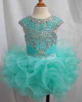 Real Photos Toddler Little Baby Girl's Pageant Dresses with Rhinestone Capped Sleeves Princess Party Gowns Ruffles Organza Birthday Dress