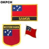 Samoa flag patch abzeichen 3 stücke ein satz patches für kleidung diy dekoration pt0151-3