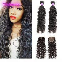 K Brazilian Human Hair 2 Bundles With Lace Closure 3pieces Lot Water Wave Hair Extensions With 4x4 Lace Closure Middle Free Three Part