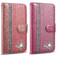 아이폰 11XS MAX XR X8 7 블링 반짝이 반짝 전화 플립 커버 홀더 마그네틱 나비 럭셔리 다이아몬드 스파클 가죽 지갑 케이스