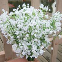 50 pcs Blanc Artificielle Bébé Souffle Fleurs Artificielle Gypsophila Faux Soie Fleur Plante Maison De Noce Décoration de La Maison