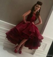 Burgundy Ball Gown Prom Dresses High Low Ruffles Cocktail Pa...