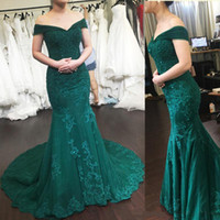 2019 Prom Dresses Mermaid Off Shoulder Lace Applique Evening...