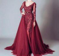 Mirusponsa Burgonya Abiye Scoop Boyun A Hattı Örgün Abiye Giyim Dantel Aplike Elie Saab Resmi elbise için Prom Parti Vestido