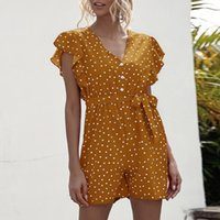 Summer Women Bohemian Casual Dot Print Jumpsuit Ladies Baggy...