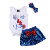 4th July Independence Day 3PCS Newborn Baby Girls Cotton Bod...