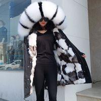 белый черный енот меховой отделкой бренда Maomaokong Черно-белые сетки лисицы облицовочные женщины длинные ветровки