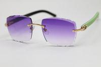 بدون شفة منحوتة عدسة البصرية 3524012 الأخضر مزيج أسود لوح النظارات الشمسية للجنسين النظارات الأرجواني الأرجواني البني الذهب إطار معدني