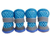 أحذية الصيف الكلب مع اثنين من عاكس تثبيت الشريط وعرة المضادة للانزلاق وحيد الكلب أحذية أحذية ملونة الحيوانات الأليفة لينة 7 ألوان