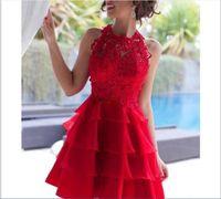 Red Organza-mini kurze Heimkehr-Kleider 2018 reizvolle Illusion Juwel-Spitze-Cocktailparty-Kleid-Knie-Längen-einfaches preiswertes Abendkleid