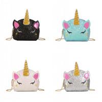 Cartoon Unicorn progetta la catena di borsa multi colore Glitter Bambini vita Borse Donna viaggio trucco Organizzatore vendita calda 14zm E1