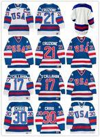 1980 Team USA Hockey Jerseys 30 Jim Craig 21 Mike Eruzione 17 Jack O'Callahan 1980 Year Miracle USA Vintage Hockey Jersey White Blue S-3XL