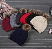 Niños adultos grueso cálido sombrero de invierno para las mujeres suave estiramiento cable punto Pom Poms Gorros sombreros Skullies de las mujeres Gorros de esquí de la niña