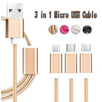 3 in 1 Nylon Braided Micro USB Cable Type C Data Charg Cable...