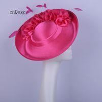 2019 Большой ярко-розовый атласный чародей Дамское вечернее платье, шляпа для церкви, свадебный душ для матери невесты с цветком