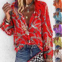 Approsgrass Brand Дизайнер дизайнерская цепь цепи напечатанные женские рубашки мода плюс размер с длинным рукавом блузки повседневные однобортные женские вершины