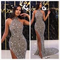 2020 арабский ASO EBI серебристый блестящий сексуальные вечерние платья Кристаллы Обратная платья выпускного вечера Высокая разделительная формальная партия второе приемные платья