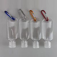 50ml bottiglia ricaricabile alcolica vuota con tasto anello gancio trasparente in plastica trasparente in plastica sanitizer bottiglia per la casa viaggio in stock gratis DHL