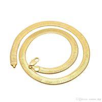 810 Mm Altın Yılan Zincir Kolye Erkekler S Düzleştirilmiş Pürüzsüz Yılan Zincirleri Kadınlar Için 30 inç Hip Hop Takı Sıcak satış