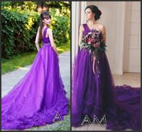 Uma linha roxa Tulle Praia Vestidos de casamento 2020 Trem longo Camo Bohemian vestido de noiva Vestidos Um ombro vestidos de casamento