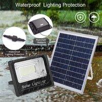 Новые Solar Прожектор 25W 40W 60W 100W 200W 300W Прожектор Водонепроницаемый светодиодный солнечный светильник с пультом дистанционного управления солнечной LED наружного освещения