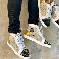 Street Style cuir Chaussures de sport poisson Échelle rouge de fond Souliers simple d'homme Mode cuir High Top Lace Up Formateurs Toe Spikes Sneakers