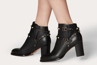 De alta calidad de la marca Negro piel de becerro botas del tobillo de las mujeres Espárragos perfecto Roca de las mujeres de moda botas de invierno Bottines Femme vestido de novia Partido