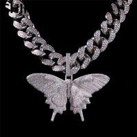 Ghiasso fuori animale grande collana pendente a ciondolo argento blu placcato uomo hip hop bling gioielli regalo all'ingrosso