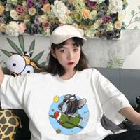 2019 여성 의류 귀여운 만화 프랑스 불독 하라주쿠 인쇄 t 셔츠 핫 판매 여성 O 목 높은 품질의 디자이너 셔츠 DHBOWC152